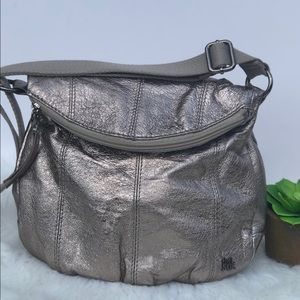 Super Chic Sak Metallic Pewter Shoulder Bag